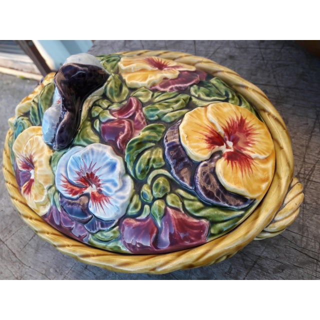 Ceramic Antique Sarreguemines Majolica Pansy Tureen French Faience Majolica Flower Tureen For Sale - Image 7 of 10