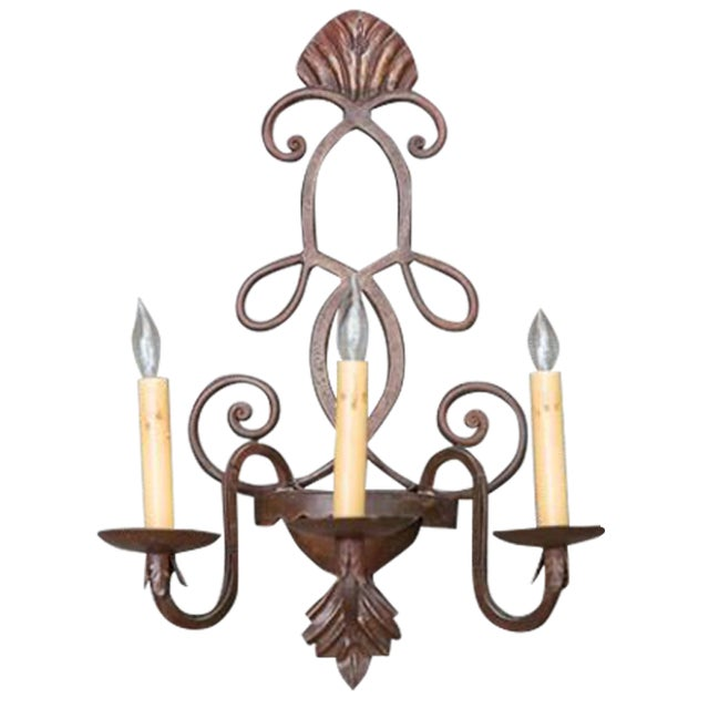 3 Hand-Forged 3-Arm French Wall Sconces - Image 1 of 3