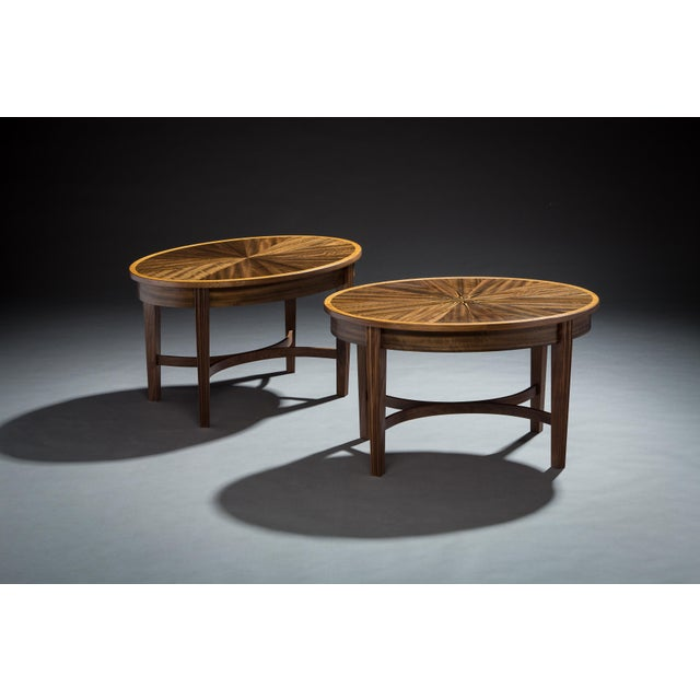 Traditional Fraternal Twin Hand Inlaid Top Walnut Coffee Tables - a Pair For Sale - Image 3 of 3
