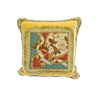 19th Century Antique Velvet & Floral Aubusson Pillow For Sale