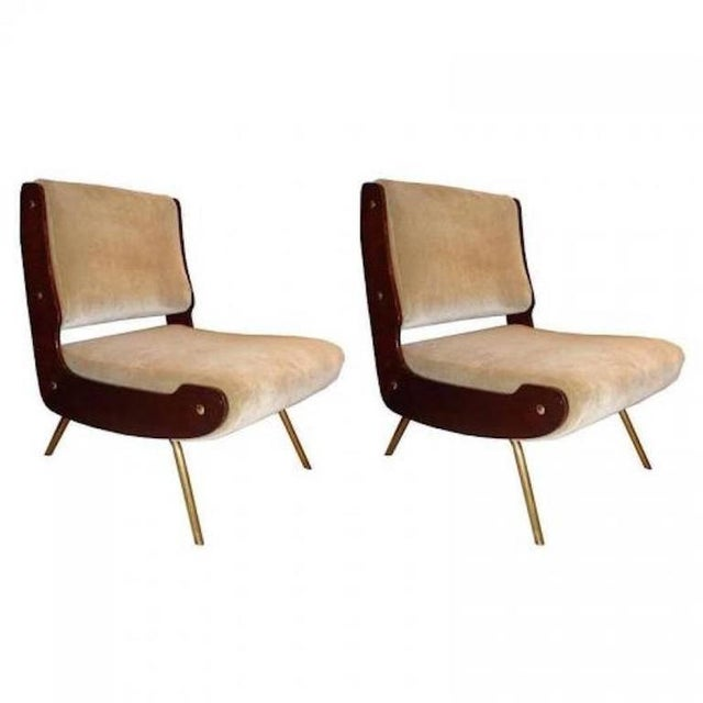 Tan Gianfranco Frattini Pair of Slipper Chairs For Sale - Image 8 of 10