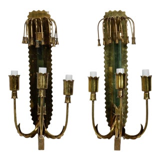Stilnovo Style Mid-Century Brass & Glass Three-Light Sconces - A Pair For Sale