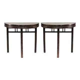 Asian Chinese Style Teak Half Round 3 Legged Console Tables- a Pair For Sale
