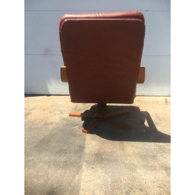 Vintage Teak & Leather Adjustable Lounge Chair - Image 6 of 8