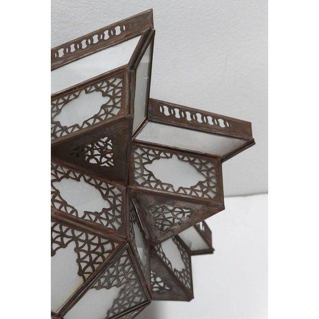 Late 20th Century Moroccan Moorish Star Shape Frosted Glass Light Shade For Sale - Image 5 of 10