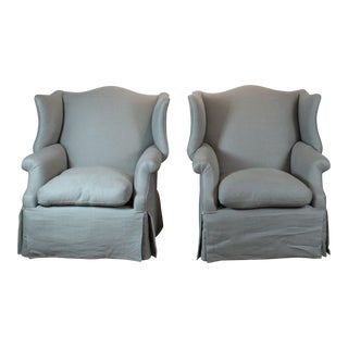 1950s English Traditional Light Gray Linen Wing Back Chairs - a Pair
