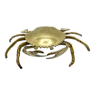 Vintage Brass Crab Ashtray Catchall For Sale