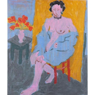 """Vintage Mid-Century Victor Di Gesu """"Seated Nude in Interior"""" Oil Painting For Sale"""