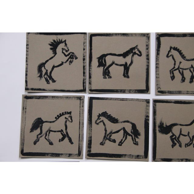 Contemporary Minimalist Set of 9 Horse Paintings by Cleo Plowden For Sale - Image 3 of 8