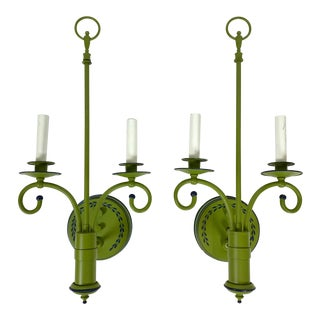 Vintage French-Style Green Tole Sconces - a Pair For Sale