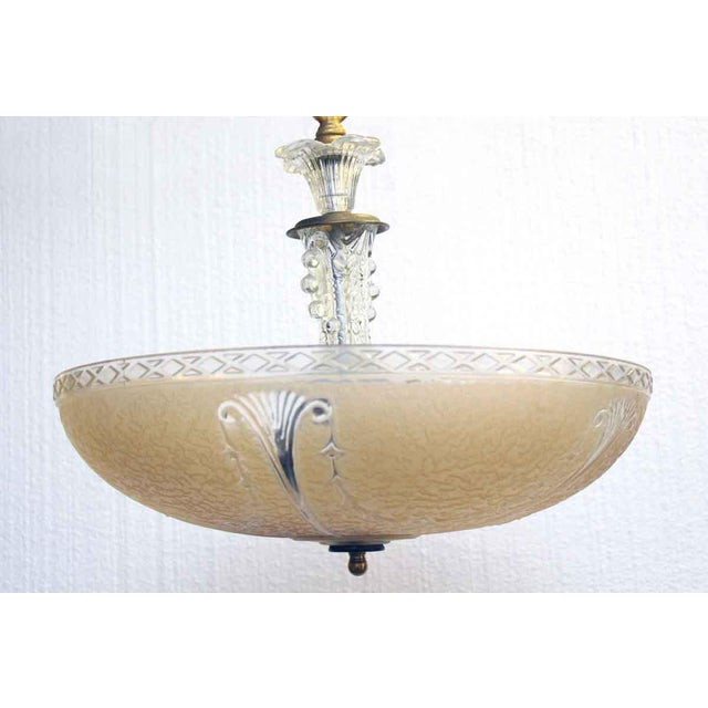 Peach Embossed Domed Glass Shade Fixture For Sale - Image 4 of 12
