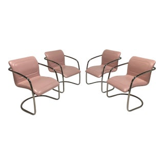 Late 20th Century Pink Leather and Chrome Cantilever Chairs- Set of 4 For Sale