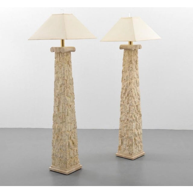 Metal Manner of Karl Springer Floor Lamps - a Pair For Sale - Image 7 of 7