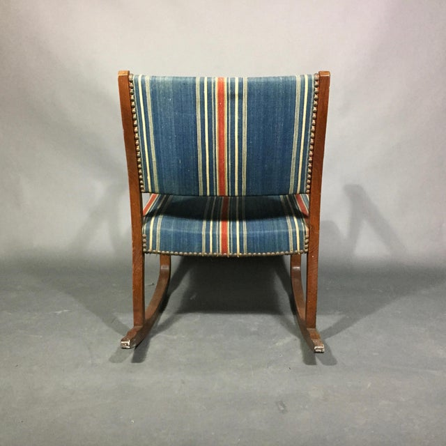 1940s Danish Rocking Chair, Oak and Wool Stripe For Sale - Image 11 of 12