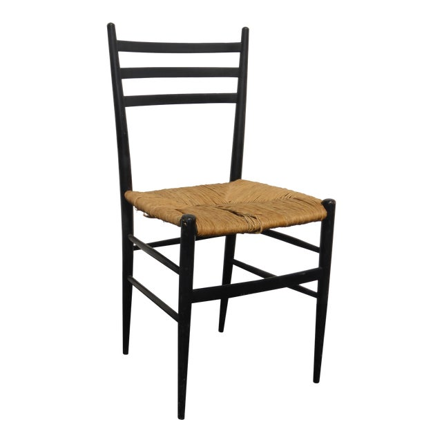 Strange Vintage Ladder Back Black Rush Accent Chair Caraccident5 Cool Chair Designs And Ideas Caraccident5Info