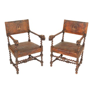 Late 19th Century Antique Louis XIII Style Armchairs- A Pair For Sale