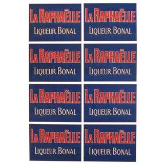 1920's French Vintage Alcohol Poster, La Raphaelle - Liqueur Bonal (Blue\Red) For Sale
