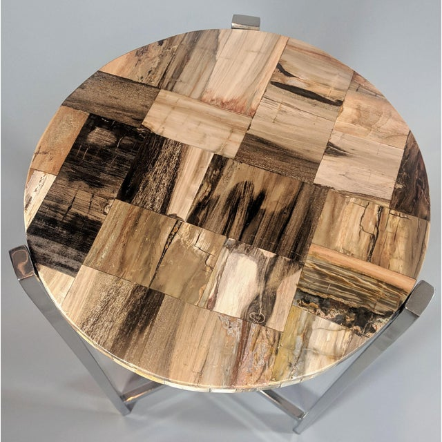 Organic Modern Petrified Wood and Chrome Side Table For Sale In Providence - Image 6 of 13