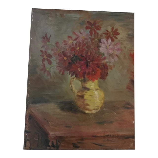 French Mid-Century Floral Still-Life Painting For Sale