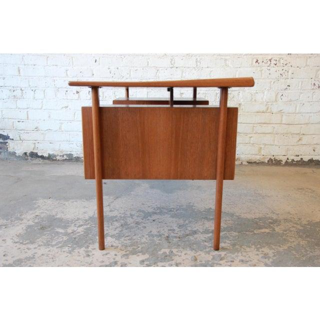 Wood Danish Modern Teak Floating Top Desk by Peter Løvig Nielsen for Lovig Dansk, 1969 For Sale - Image 7 of 13