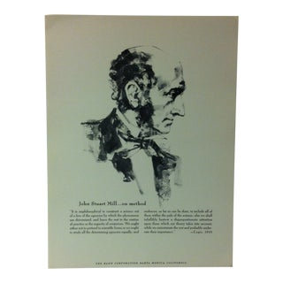 """1962 """"John Stuart Mill - on Method"""" The Rand Corporation Famous People in History Print For Sale"""
