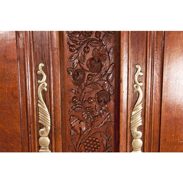 Early 19th Century Early 19th Century French Carved Floral Motif Marriage Armoire For Sale - Image 5 of 7