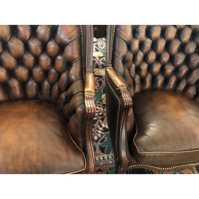 Tufted Burnished Leather Club Chairs - a Pair For Sale - Image 10 of 13