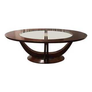 Contemporary Brownstone Wood and Glass Oval Dining Table