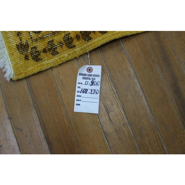 """Vintage Hand Woven Yellow OverDyed Rug - 5'7"""" x 9' For Sale - Image 7 of 7"""