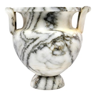 Italian Carved Alabaster Vase With Handles and Charcoal Veining For Sale