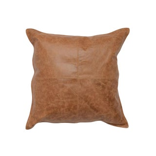 Contemporary Leather Chestnut Pillow For Sale