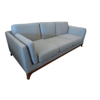 Mid-Century Style Aqua Gray Sofa