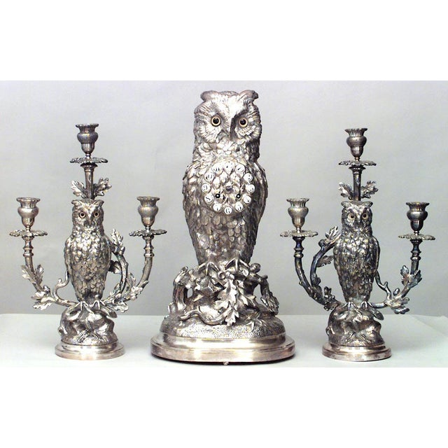 English Victorian Silver-Plated Owl Design Clock and Pair of Candelabra For Sale - Image 10 of 10