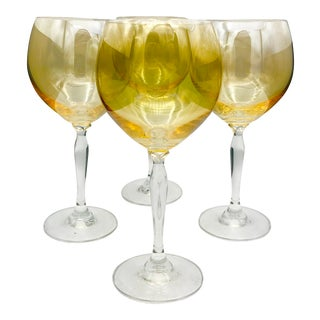 1950s Mid-Century Marigold Crystal Wine Glasses - Set of 4 For Sale