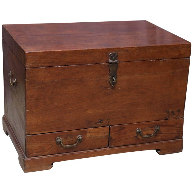 19th Century Anglo-Indian Solid Teakwood Box With Inside Trays For Sale