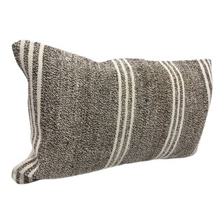 Vintage Turkish Kilim Handmade Striped Pillow Cover For Sale