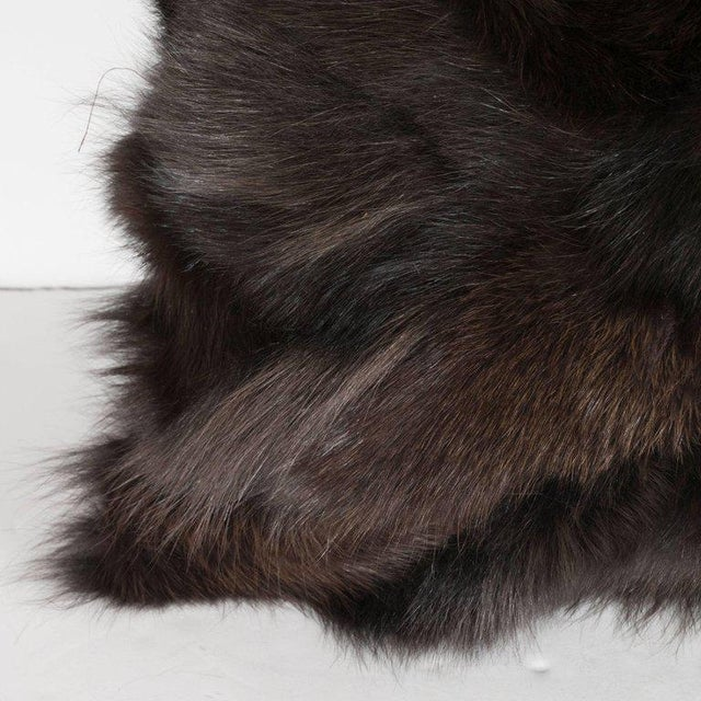 Luxurious Custom New Handmade Fox Fur Pillows in a Stunning Onyx Shade For Sale In New York - Image 6 of 10