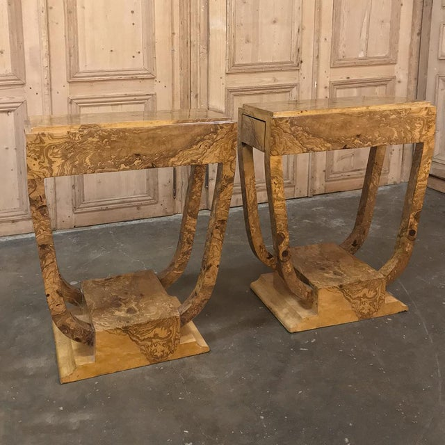 Pair Art Deco Burl Walnut End Tables For Sale - Image 12 of 12