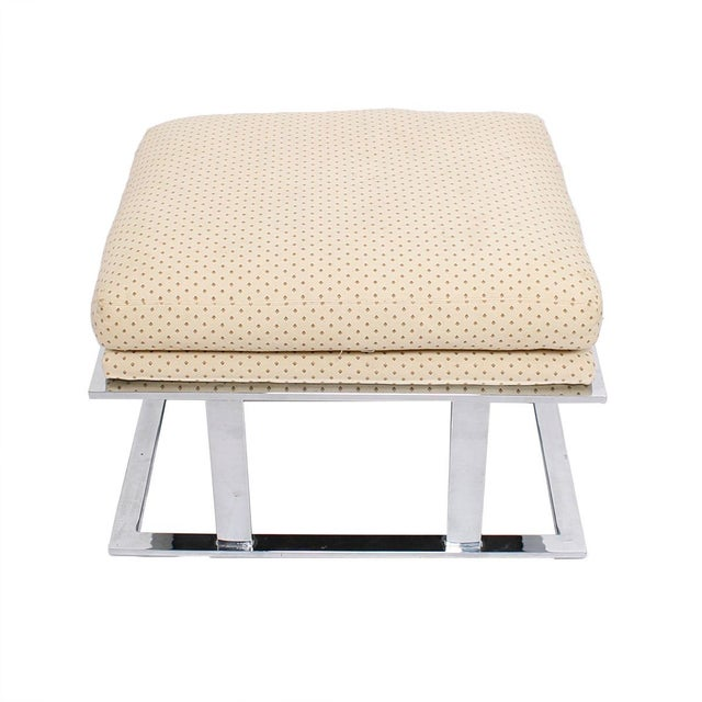 Milo Baughman upholstered stool with chrome frame. Makes a great alternative to traditional chairs for seating. Chrome...