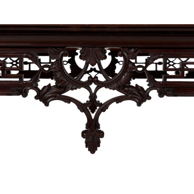 Carved Mahogany English Antique Library Console Table For Sale - Image 11 of 13