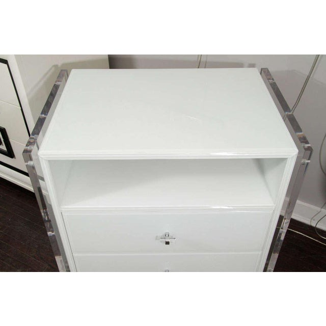 Pair of White Reverse Painted Glass End Tables For Sale - Image 4 of 8