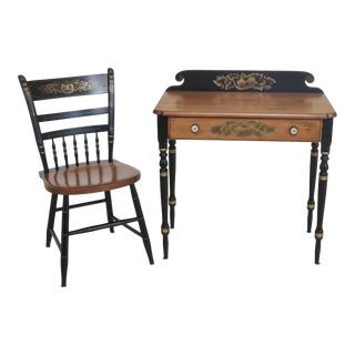 Hitchcock Paint Decorated 1 Drawer Desk & Chair For Sale