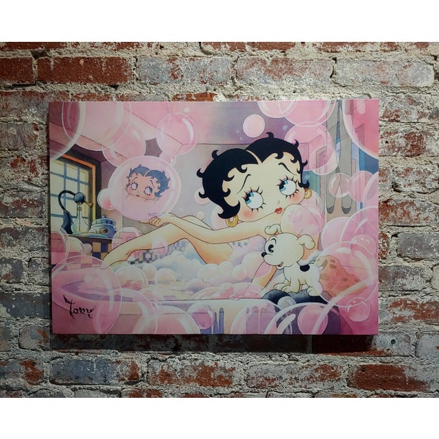 White Toby Bluth-Betty Boop Bubbles Bath W/ Pudgy -Giclee Painting on Canvas-Signed For Sale - Image 8 of 8