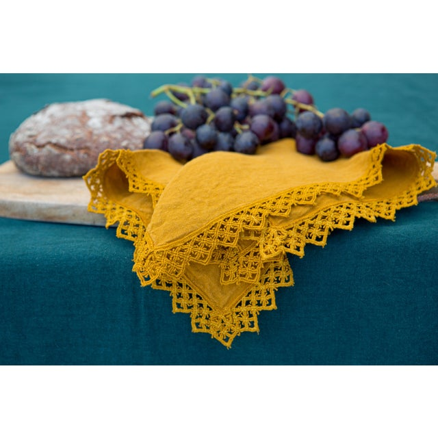 Once Milano Linen Napkin With Macramé in Mustard For Sale - Image 4 of 5