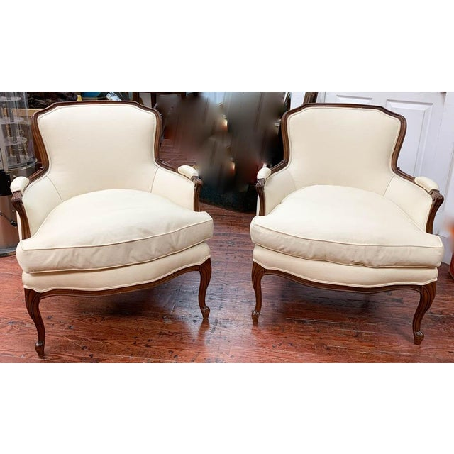 French Pair of French Arm Chairs With Bow Tie Ottoman For Sale - Image 3 of 10