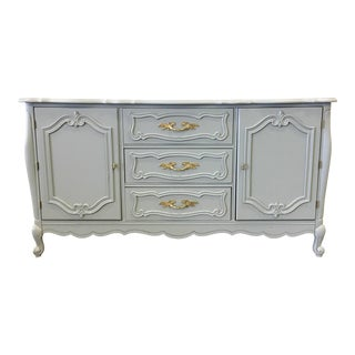 1960s French Country Light Grey Lacquer Buffet For Sale