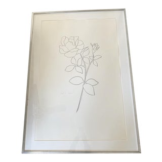 Original Framed Rose Line Drawing For Sale