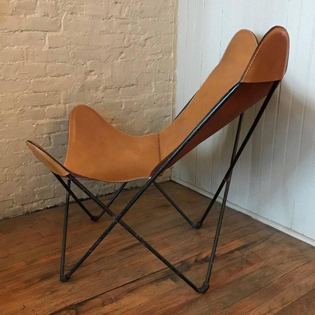 Knoll International Jorge Ferrari-Hardoy for Knoll Leather Butterfly Chair For Sale - Image 4 of 9