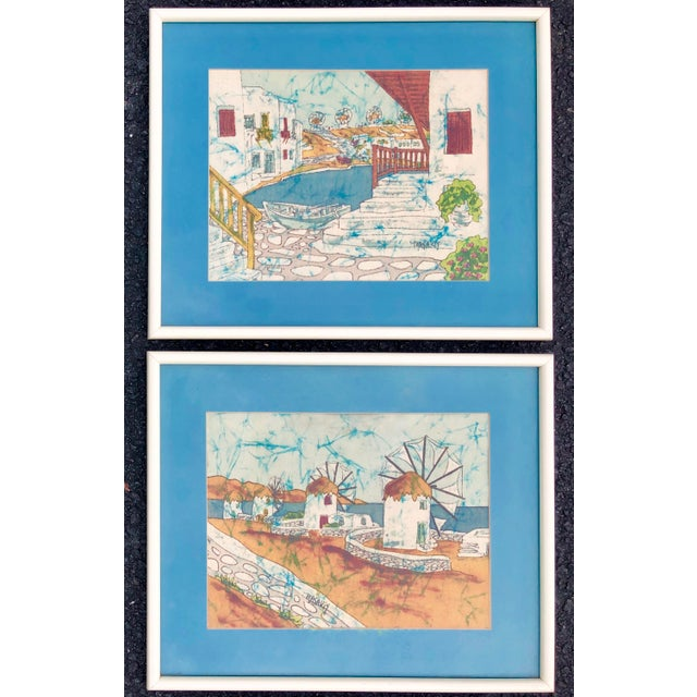 Vintage Greek Framed Batik and Cloth Paintings of Mykonos Windmills- a Pair For Sale - Image 12 of 12