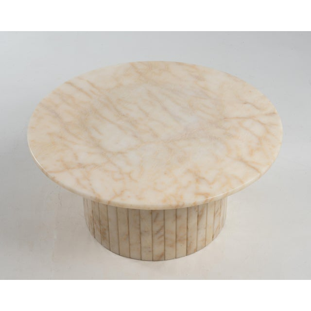 Hollywood Regency Hollywood Regency Round Alabaster Coffee Table on a Drum Base For Sale - Image 3 of 13
